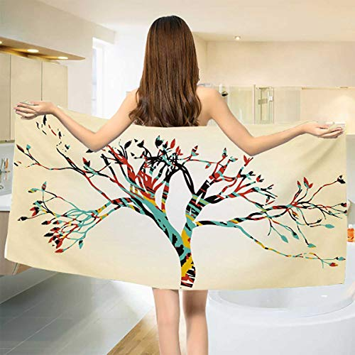Chaneyhouse Modern,Baby Bath Towel,Retro Vintage Style Colorful Design on Abstract Black Tree with Leaves Buds Artwork,Print Wrap Towels,Multicolor Size: W 10