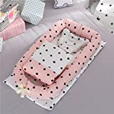 Cybil Home Baby Bassinet for Bed Baby Lounger Co-Sleeping Cribs- Breathable & Hypoallergenic -100% Cotton Portable Crib for Newborn 0-24 Months Travel Infant Bed Mattress Baby Shower(Spot Pink)