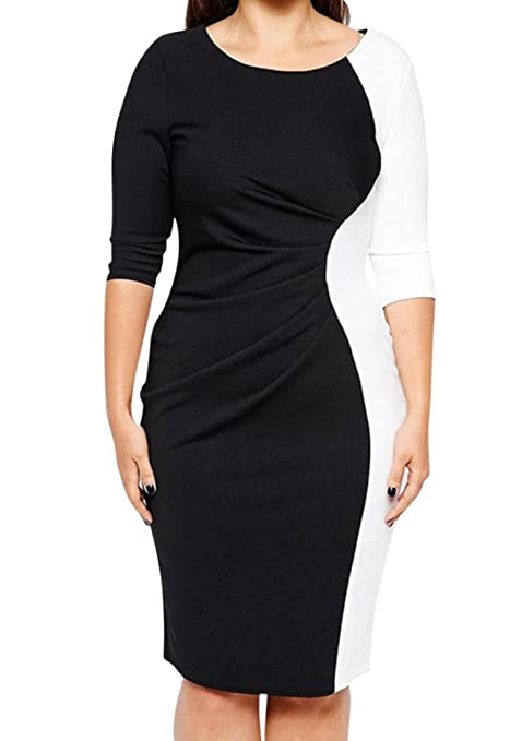 Vestido Corto Para Mujer Elegante Cóctel Vestido De Noche Talla Grande - Negro Blanco - 3XL