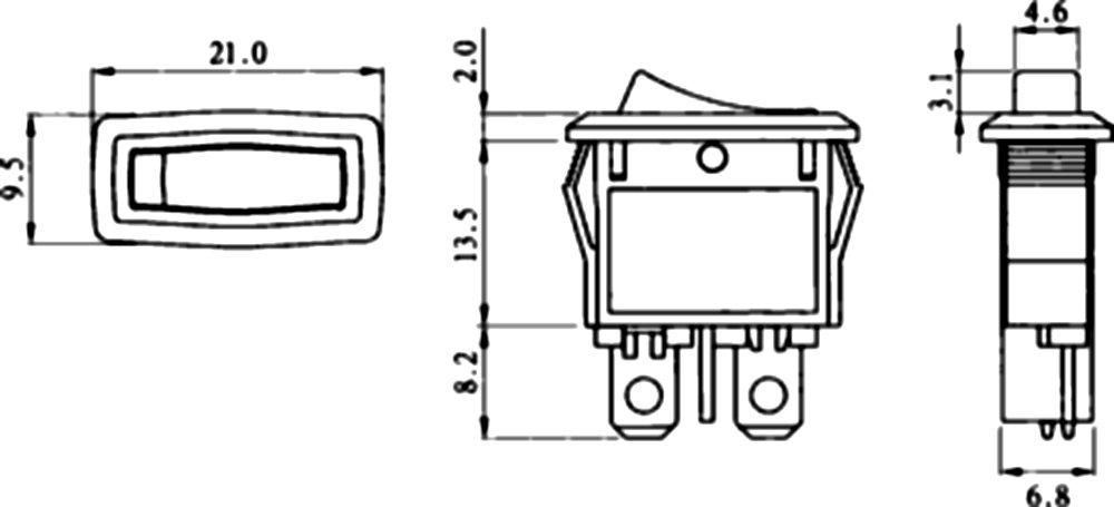 Interruptor conmutador basculantes de boton SPST ON-OFF 4A//250V 2 posiciones Negro C10748 AERZETIX