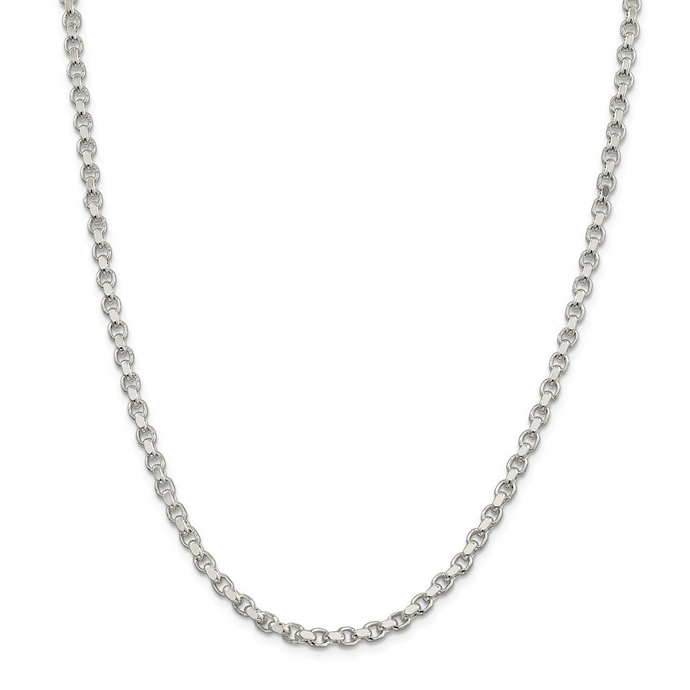 Mia Diamonds 925 Sterling Silver Solid 4mm Rolo Necklace Chain 7 7in x 4mm