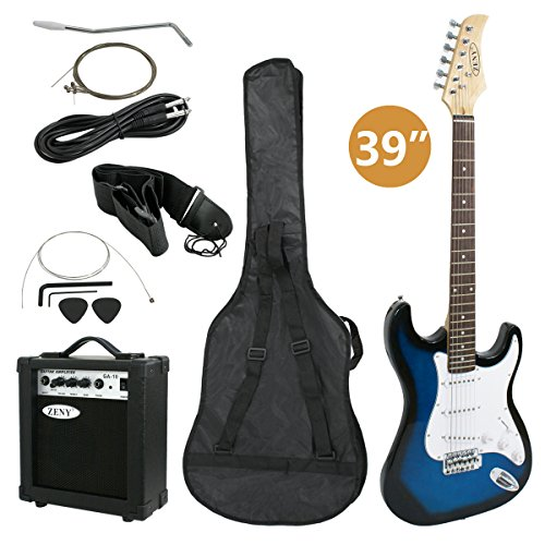 ZENY Full Size Electric Guitar with Amp, Case and Accessories Pack Beginner Starter Package (Blue)