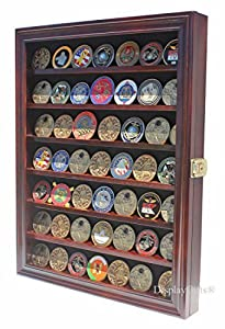 Lockable Military Challenge Coin Display Case Cabinet Rack Holder from Display Gifts Inc.