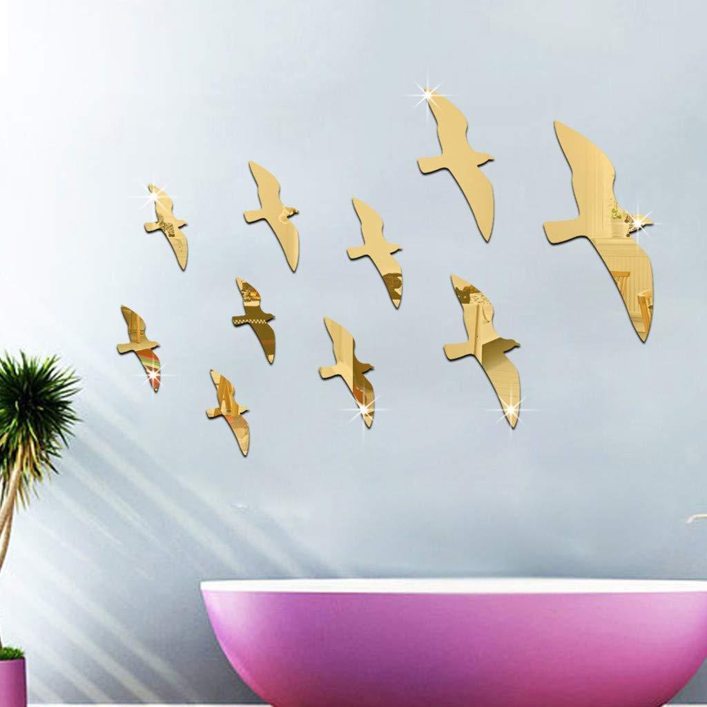YWLINK AcríLico 3D Seagull Bird Combination Mirror Effect Etiqueta ...
