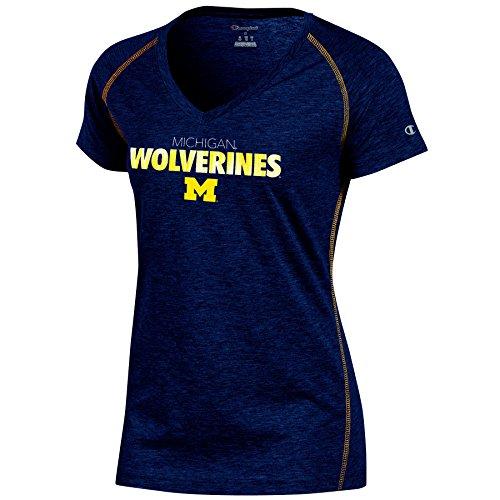 Michigan Wolverines Short Sleeve Shirt - NCAA Michigan Wolverines Women's Short sleeve V Neck Tee, Medium, Navy Heather