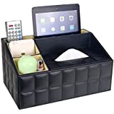 UnionBasic Multifunctional PU Leather Office Desk Organizer iPad Notebook File Box Holder Business Card/Pen/Pencil/Mobile Phone/Stationery Holder Storage Organizer Small Tissue Box (Plaid Black - New)