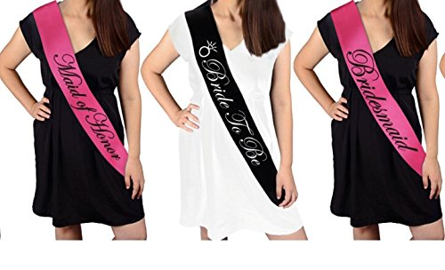 BACHELORETTE PARTY SASH SET(PINK):Bride to be sash,Maid of honor sash,3 Bridesmaid sash/Team Bride free Bride/Bride tribe tattoos, for Bridal shower,Engagement party favors &supplies (pink,black) by Gemich (Image #2)