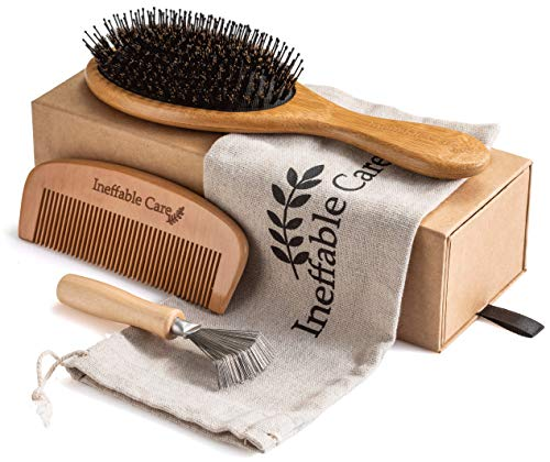 Boar Bristle Hair Brush Set for Women & Men - Wooden Comb & Detangling Hair Brushes for Women Long, Thick, Thin, Fine, Curly & Tangled - Natural Detangler Hairbrush & Comb Gift set