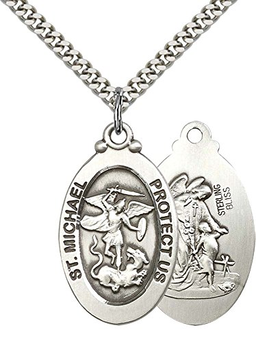 Sterling Silver St. Michael the Archangel Pendant with 24'' Stainless Steel Heavy Curb Chain. Patron Saint of Police Officers/EMTs by F A Dumont Church Supplies