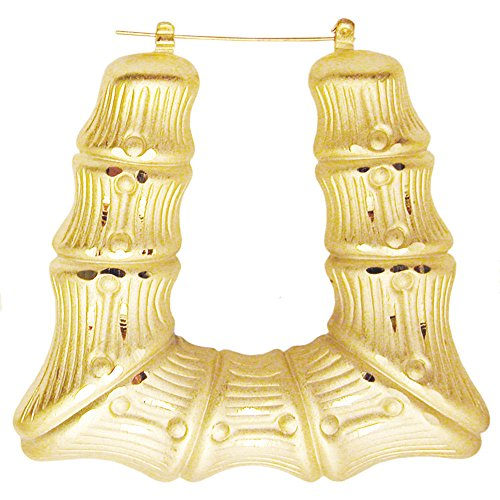 Girlprops Truly Vintage Old School 1980'S Doorknocker Earrings, Square Bamboo Hoops in Gold Tone with Matte Finish ()