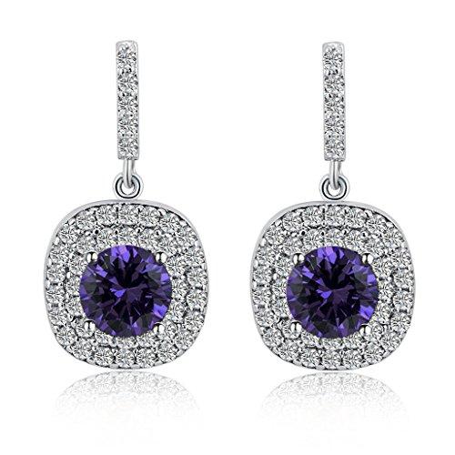 Fancy Earrings Jewelry (Mayared Women Drop Dangle Earrings 18k Gold Plated Purple Cubic Zirconia)