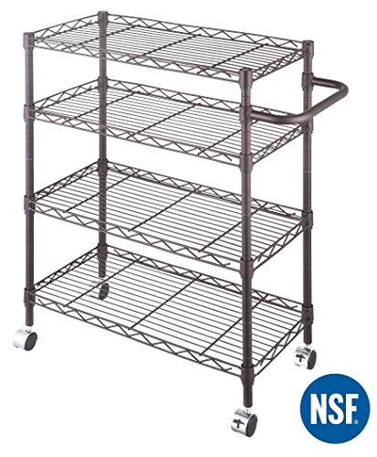 eeZe Rack ETI-010 Steel Wire Storage Cart with Wheels, NSF Certified, 24x12x30-inches 4-Tier (ORB) (NEW) - Wire Storage Carts