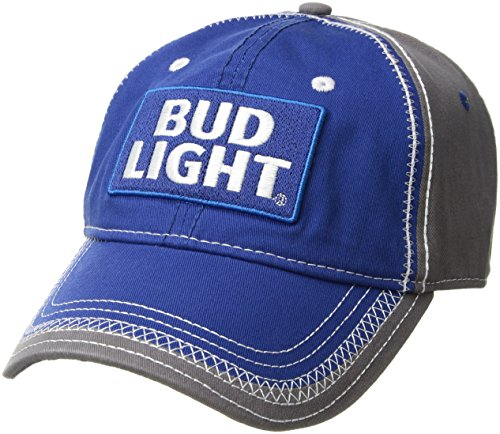 Budweiser Men's Bud Light Washed Twill Baseball Cap, Embroidered Logo, Navy Twill, One Size