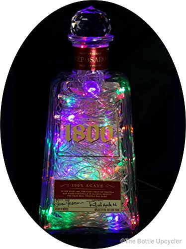 Upcycled 1800 Reposado Tequila Mood Therapy Liquor Bottle Light w/100 Multi-Color LED's Topped Off with an Asfour 30% Leaded Clear Crystal Prism Ball
