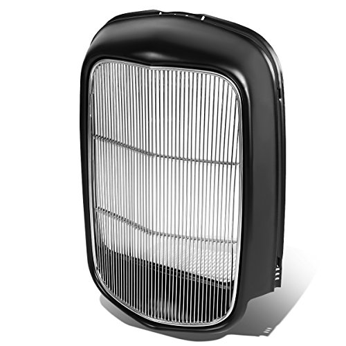 (For Ford Model B/BB / 18 Polished Stainless Steel Front Grille Shell + Insert (Black/Metallic))
