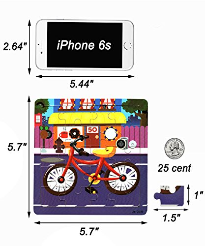 Vileafy 12-In-1 Jigsaw Puzzles for Kids, Wooden Puzzles with Individual Silk Gift Bag for Children's Party Favors … by Vileafy (Image #3)