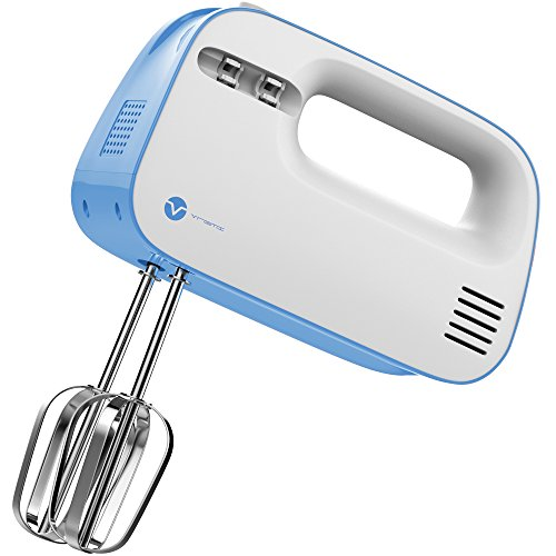 Vremi Electric Hand Mixer 3 Speed with Built-in Storage Case - 150 Watt Power Egg Beater Handheld Kitchen Mixer Stainless Steel Beaters Blades - Electronic Compact Mini Small Lightweight - Blue White