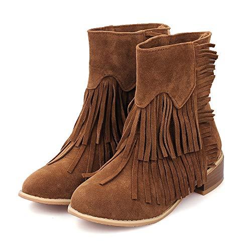Shybuy Women's Fashion Fringe Mid Calf Boot Ladies Casual Low Heel Round Toe Flat Tassel Booties (7, Brown 2) ()