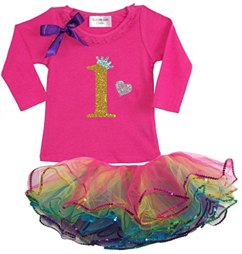 Bubblegum Divas Baby Girls' 1st Birthday Rainbow Gold Long Sleeve Tutu Outfit 24mos (Disco Themed Clothes)