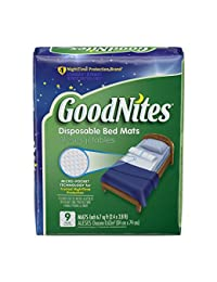 GoodNites Disposable Bed Pads for Nightime Bedwetting, Non-Slip Waterproof Mattress Pad, 30