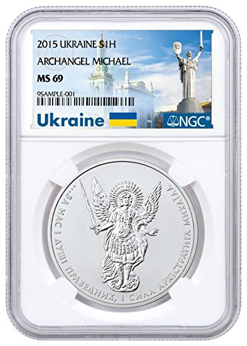 2015 UA 1 oz Silver Ukraine Archangel Michael 1 Hryvnia MS69 NGC
