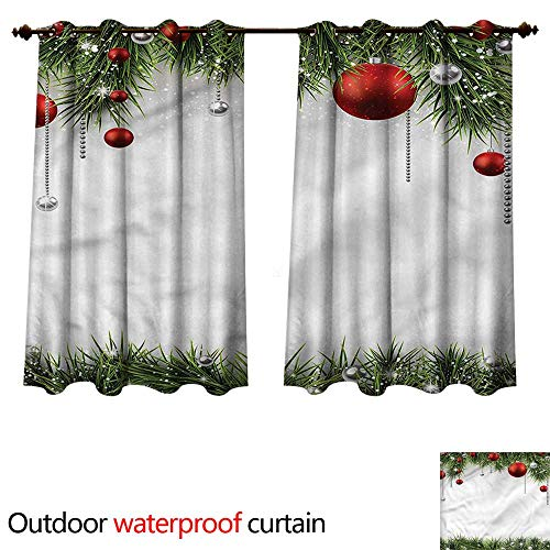 - cobeDecor Christmas 0utdoor Curtains for Patio Waterproof Tree Balls Ornaments W72 x L72(183cm x 183cm)