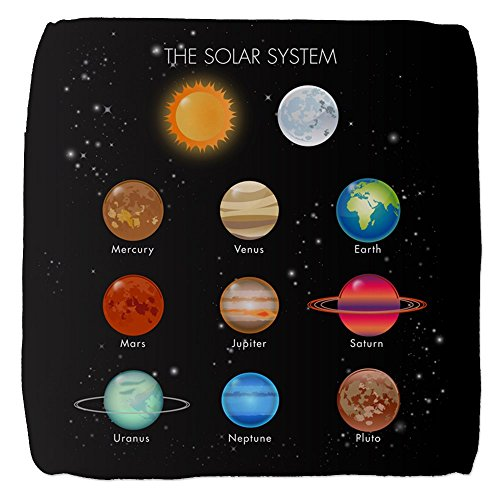 18 Inch 6-Sided Cube Ottoman Solar System Sun Moon and Planets by Royal Lion