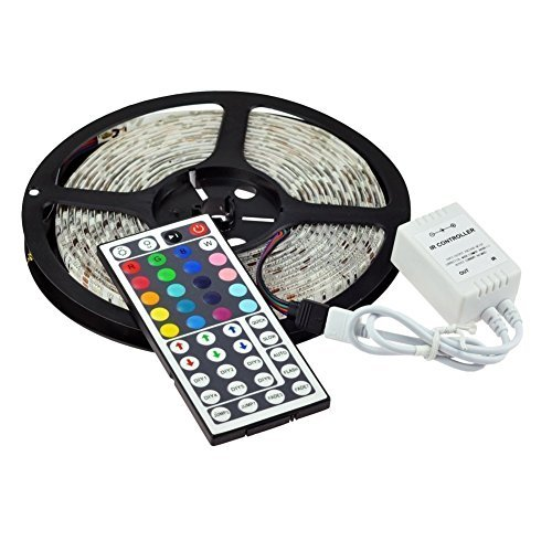 Vinus 16.4-Feet SMD 5050 5M Waterproof 300LEDs RGB Flexible LED Strip Light Lamp Kit with 44 Key IR Remote Controller W/ 12V 5A Power Supply Adapter