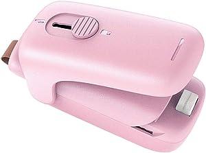 Mini Bag Sealer,Handheld Bag Heat Vacuum Sealer ,2 in 1 Sealer and Cutter,Portable Bag Resealer Sealer for Plastic Bags Storage Bag (Pink)