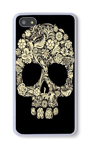 iPhone 5S Case, White PC Hard Phone Cover Case For iPhone 5S With Floral Skull Phone Case