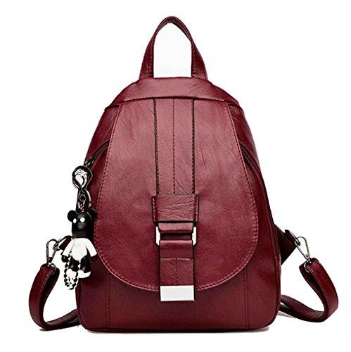 Sac d'épaule Multi Function Solide Couleur PU Femmes Fille Sac à dos Rucksack sac à main Boucle magnétique unique Sac à bandoulière Sac bandoulière Voyage Mengonee Rouge