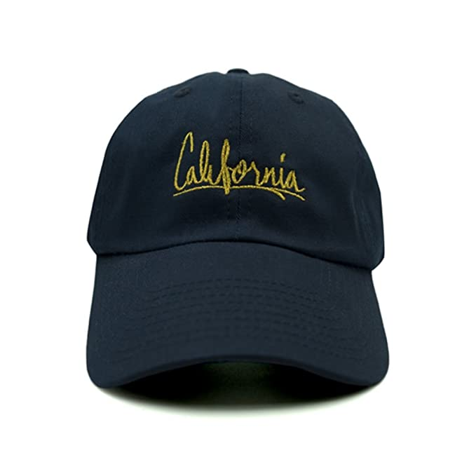 Amazon.com  Nissi Cursive California Dad Hat (Navy)  Clothing ead43d01088