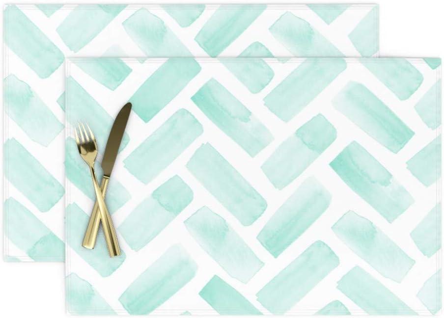Table Runner Herringbone Modern Home Watercolor Teal Chevron Cotton Sateen