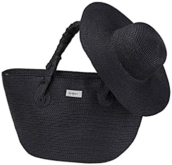 Marino Best Beach Tote Bag and Suns Hat for Women - Floppy Straw Hat and Swimming Bag - Sun Protection Hat UPF 50+ - Black - One Size