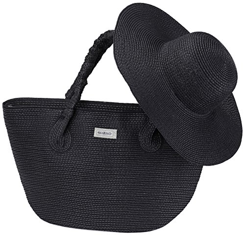 Marino Best Beach Tote Bag and Suns Hat for Women - Floppy Straw Hat and Swimming Bag - Sun Protection Hat UPF 50+ - Black - One Size ()
