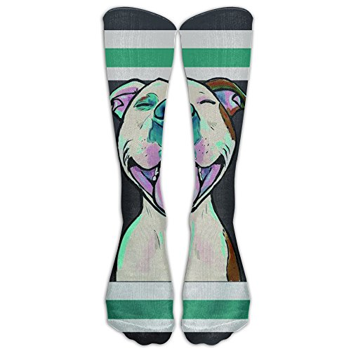 Pit Bull Cartoon Pit Bull Smile Adults Beach Towel 80x130 Inches Athletic Tube Stockings Women's Men's Classics Knee High Socks Sport Long Sock One Size (80's Basketball Player Costume)