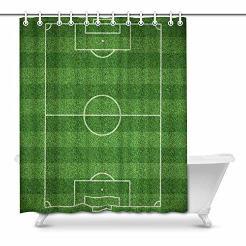 InterestPrint Funny Realistic Soccer Field House Decor Shower Curtain for Bathroom, Decorative Fabric Bath Curtain Set with Rings, 66(Wide) x 72(Height) inches