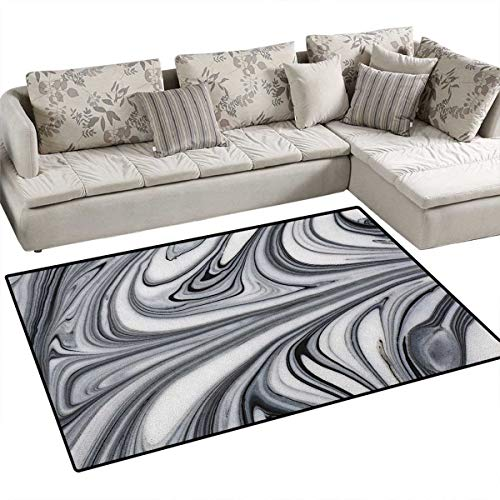 Wizard Liquid Deodorizer (Abstract,Floor Mat,Mix of White and Black Hallucinatory and Surreal Liquid Marble Figures Graphic Artwork,Small Rug Carpet,Grey Size:48