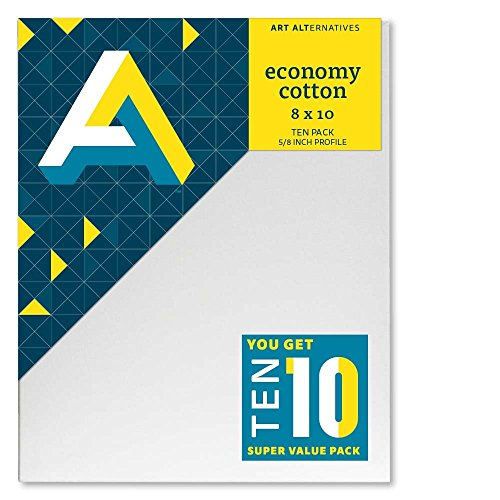 Art Alternatives Economy Artist White Canvas Super Value Pack-8 x 10 inches-Pack of 10
