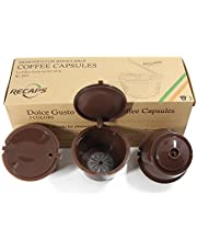 RECAPS Refillable Coffee Filers Refilling More Than 200 Times Reusable Coffee Pods for Nescafe Dolce Gusto Brewers 3 Pack Brown