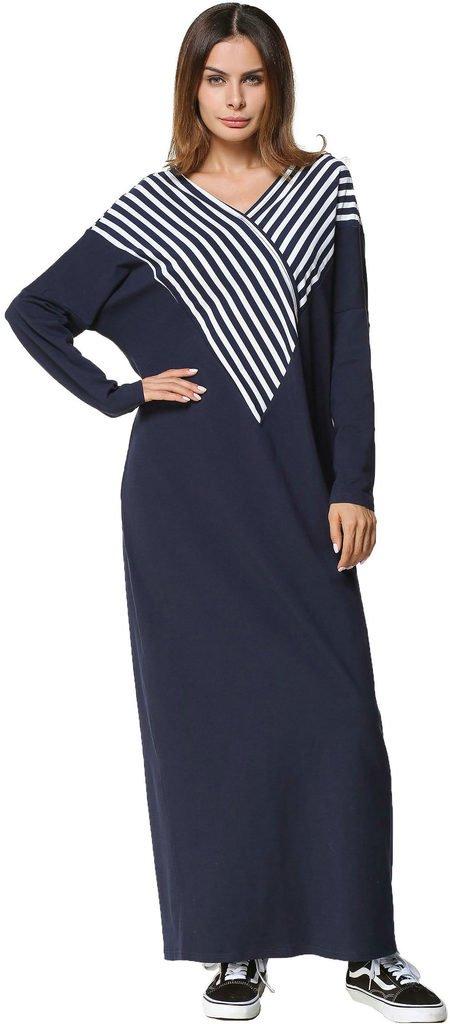 Ababalaya Women's Loose Soft V-Neck Stripe Color Block Full Length Muslim Abaya Dress Pajamas,Navy Blue,L