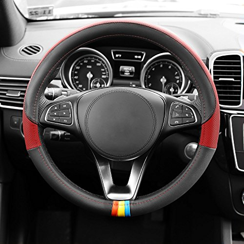 FH GROUP FH2008 Full Spectrum Genuine Leather Steering Wheel Cover, Red Color- Fit Most Car, Truck, Suv, or Van