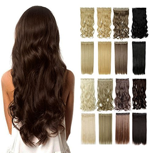13colors Synthetic Fiber Clips in on Hair Extension One Piece 5 Clips 3/4 Full Head Long Straight Curly Wavy (Headband Hair Extensions)