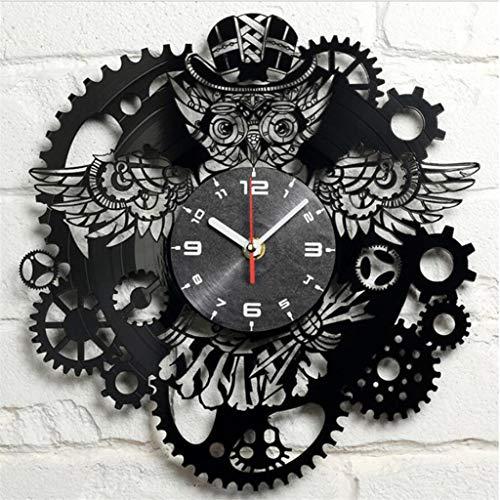 Zdtxkj Wall Clock 3D Acrylic Punk Owl Gear Clock Hanging Watch On The Wall Nostalgic Steam Quartz Wall Clock for Home Decoration