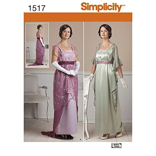 Simplicity Costume Pattern 1517 Misses Edwardian Style Dresses Sizes 6-8-10-12