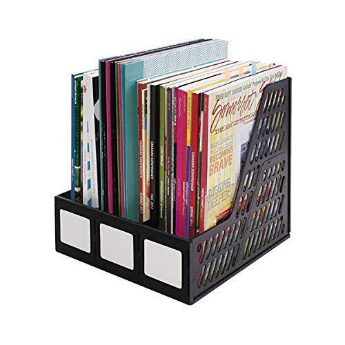 TableTop King 34091 Black 3 Compartment Plastic Desktop Magazine/Literature File