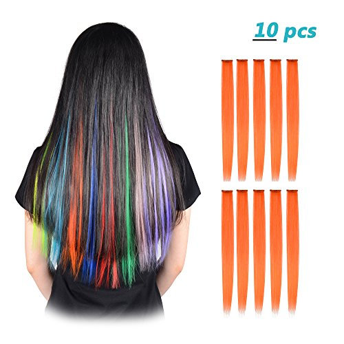 FESHFEN 10 Pcs Orange Straight Clip on in Hair Extensions Hairpieces 20 Inches Long Remy Hair Colored Party Highlights Hair Accessories DIY Hair Decoration Cosplay with Gift -
