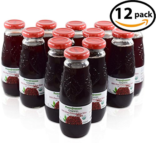 100% Pomegranate Juice - 12 Pack ,6.76Fl Oz - USDA Organic Certified - Glass Bottle - No Sugar Added - No Preservatives - Squeezed From Fresh - Pomegranate 100% Pure Organic