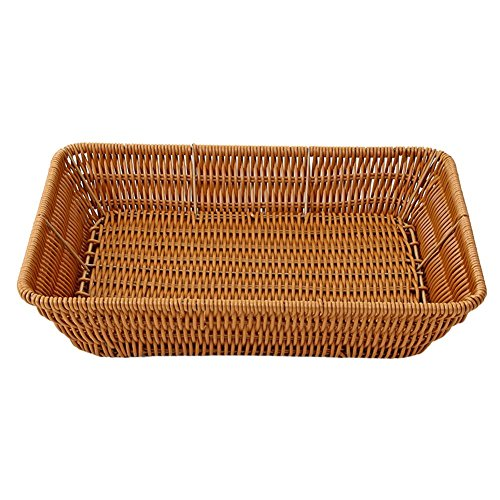 VKTECH 100% Handmade Weaved Storage Basket Imitation Rattan Handcrafted Hamper Wicker Tray Fruit Vegetables Serving Basket Container Organizer Box Natural Decor (M - 14''X10''X3'') by Vktech