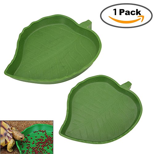 (Senzeal 1 Pack Reptile Food and Water Bowl for Pet Aquarium Ornament Terrarium Dish Plate Lizards Tortoises or Small Reptiles (Green))